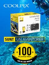 In perioada 12 iunie -  20 august 2017, kit-urile Nikon COOLPIX AW130 Diving Kit (black, orange) sunt in promotie la partenerii oficiali Nikon din Romania.
