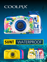 In perioada 27 martie - 23 aprilie 2017 aparatele foto subacvatice Nikon COOLPIX Waterproof W100 backpack kit (marine, blue, yellow, pink) sunt in promotie la partenerii oficiali Nikon din Romania.