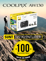 In perioada 10 iulie -  20 august 2017, kit-urile Nikon COOLPIX AW130 Outdoor Kit (black, orange, camouflage) sunt in promotie la partenerii oficiali Nikon din Romania.