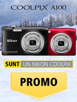 In perioada 11 decembrie 2017 - 14 ianuarie 2018 aparatele foto Nikon COOLPIX A100 in variantele rosu si negru sunt in promotie la partenerii oficiali Nikon din Romania.