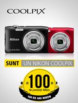 In perioada 24 iulie - 20 august 2017 aparatele foto Nikon COOLPIX A100 in variantele rosu si negru se afla in promotie la partenerii oficiali Nikon din Romania