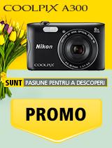 In perioada 16 aprilie 2018- 20 mai 2018 aparatul foto Nikon COOLPIX A300 black se afla in oferta la partenerii oficiali Nikon din Romania. www.nikonisti.ro