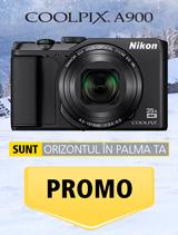 In perioada 11 decembrie 2017 - 14 ianuarie 2018 aparatul foto Nikon COOLPIX A900 negru se afla in promotie la partenerii oficiali Nikon din Romania.