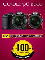 In perioada 26 iunie - 20 august 2017 aparatul foto Nikon COOLPIX B500 in variantele rosu si negru se afla in promotie la partenerii oficiali Nikon din Romania.