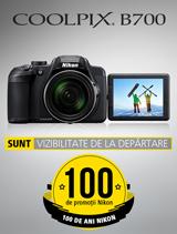 In perioada 10 iulie - 20 august 2017 aparatul foto Nikon COOLPIX B700 se afla in promotie la partenerii oficiali Nikon din Romania