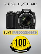 In perioada 12 iunie - 20 august 2017 aparatul foto Nikon COOLPIX L340 se afla in promotie la partenerii oficiali Nikon din Romania.