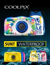 In perioada 24 iulie - 20 august 2017 aparatele foto subacvatice Nikon COOLPIX W100 Backpack Kit (marine, blue, yellow, pink) se afla in promotie la partenerii oficiali Nikon din Romania