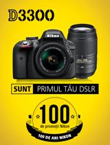 In perioada 26 iunie - 20 august 2017, aparatul foto DSLR Nikon D3300 Double Zoom Kit AF-P 18-55 VR + 55-300 VR se afla in promotie la partenerii oficiali Nikon din Romania