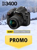 In perioada 11 decembrie 2017 - 14 ianuarie 2018 aparatul foto Nikon D3400 kit AF-P 18-55mm VR negru se afla in promotie la partenerii oficiali Nikon din Romania.