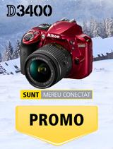 In perioada 11 decembrie 2017 - 14 ianuarie 2018 aparatul foto Nikon D3400 kit AF-P 18-55mm VR rosu se afla in promotie la partenerii oficiali Nikon din Romania.