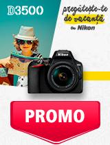 In perioada 27 mai - 30 iunie 2019 aparatul DSLR Nikon D3500 Kit AF-P 18-55mm VR se afla in oferta la partenerii oficiali Nikon din Romania. www.nikonisti.ro