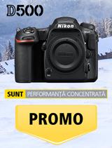 In perioada 11 decembrie 2017 - 14 ianuarie 2018 aparatul foto Nikon D500 body se afla in promotie la partenerii oficiali Nikon din Romania.