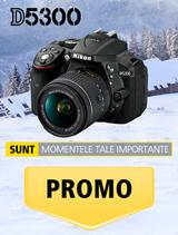 In perioada 11 decembrie 2017 - 14 ianuarie 2018 aparatul foto Nikon D5300 kit AF-P 18-55mm VR se afla in promotie la partenerii oficiali Nikon din Romania.