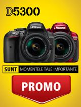 in perioada 12 decembrie 2016 - 19 februarie 2017 aparatul foto DSLR Nikon D5300 Kit AF-P 18-55mm VR se afla in promotie la partenerii oficiali Nikon.
