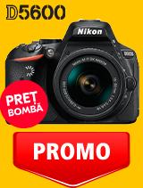 In perioada 24 martie - 22 aprilie 2020 aparatul DSLR Nikon D5600 Kit AF-P 18-55mm VR se afla in oferta la partenerii oficiali Nikon din Romania. www.nikonisti.ro