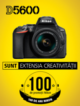 In perioada 10 iulie - 20 august 2017, aparatul foto DSLR Nikon D5600 Kit 18-55 VR AF-P se afla in promotie la partenerii oficiali Nikon din Romania