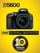 In perioada 4-30 septembrie 2017, aparatul foto DSLR DX Nikon D5600 Kit AF-P 18-55 VR se afla in promotie la partenerii oficiali Nikon din Romania
