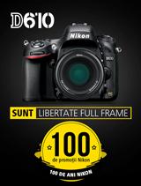 In perioada 26 iunie - 20 august 2017 aparatul foto DSLR full frame NIKON D610 KIT 50mm f/1.8G se afla in promotie la partenerii oficiali Nikon din Romania