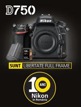 In perioada 4-30 septembrie 2017, aparatul foto DSLR FX Nikon D750 Body + acumulator EN-EL 15a + card Lexar 128GB SDXC 95MB/s se afla in promotie la partenerii oficiali Nikon din Romania