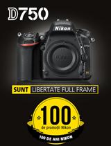 In perioada 12 iunie - 20 august 2017 aparatul foto DSLR FX Nikon D750 Body este in promotie la partenerii oficiali Nikon din Romania.
