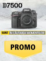 In perioada 15 ianuarie 2017 - 18 februarie 2018, aparatul foto Nikon D7500 (black)  se afla in promotie la partenerii oficiali Nikon din Romania. www.nikonisti.ro