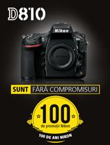 In perioada 10 iulie - 20 august 2017, aparatul foto DSLR FX Nikon D810 BODY se afla in promotie la partenerii oficiali Nikon din Romania