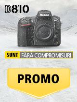 In perioada 15 ianuarie 2017 - 18 februarie 2018, aparatul foto Nikon D810 (black) se afla in promotie la partenerii oficiali Nikon din Romania. www.nikonisti.ro