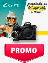 In perioada 27 mai - 30 iunie 2019 aparatul foto mirrorless Nikon Z6 + FTZ se afla in oferta la partenerii oficiali Nikon din Romania. www.nikonisti.ro